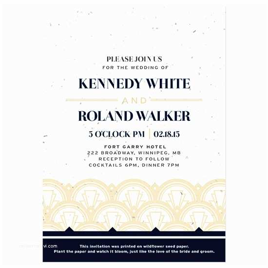 Plantable Wedding Invitations Art Deco Plantable Wedding Invitation