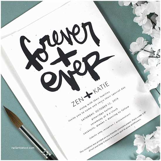 Plantable Wedding Invitations Brush Script Plantable Wedding Invitation