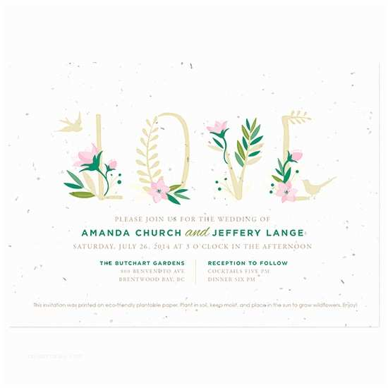 Plantable Wedding Invitations Floral Letters Plantable Wedding Invitation