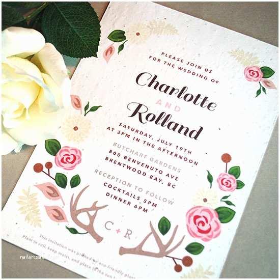 Plantable Wedding Invitations Floral Woodland Plantable Wedding Invitation