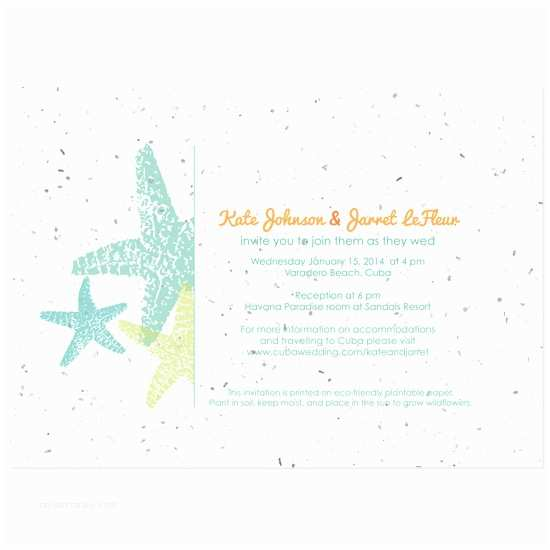 Plantable Wedding Invitations Plantable Starfish Wedding Invitation