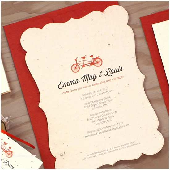 Plantable Wedding Invitations Plantable Tandem Bicycle Wedding Invitation