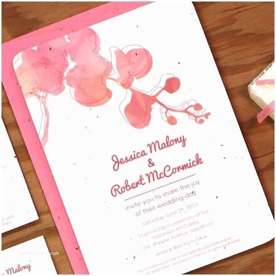Plantable Wedding Invitations Plantable Watercolor orchids Wedding Invitation