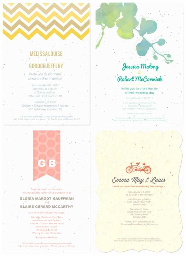 Plantable Wedding Invitations Plantable Wedding Invitations Invitation Crush