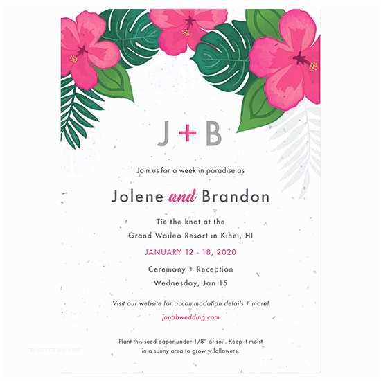 Plantable Wedding Invitations Tropical Blooms Plantable Wedding Invitation
