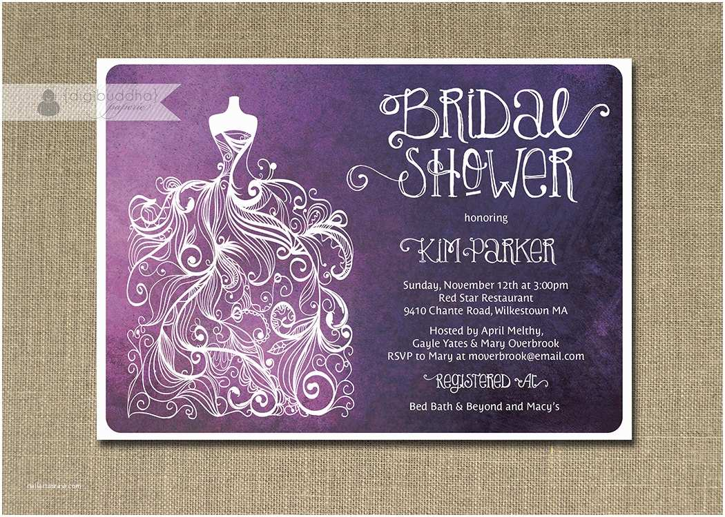 Plum Wedding Invitations Plum Ombre Bridal Shower Invitation Purple & White Gown Shabby