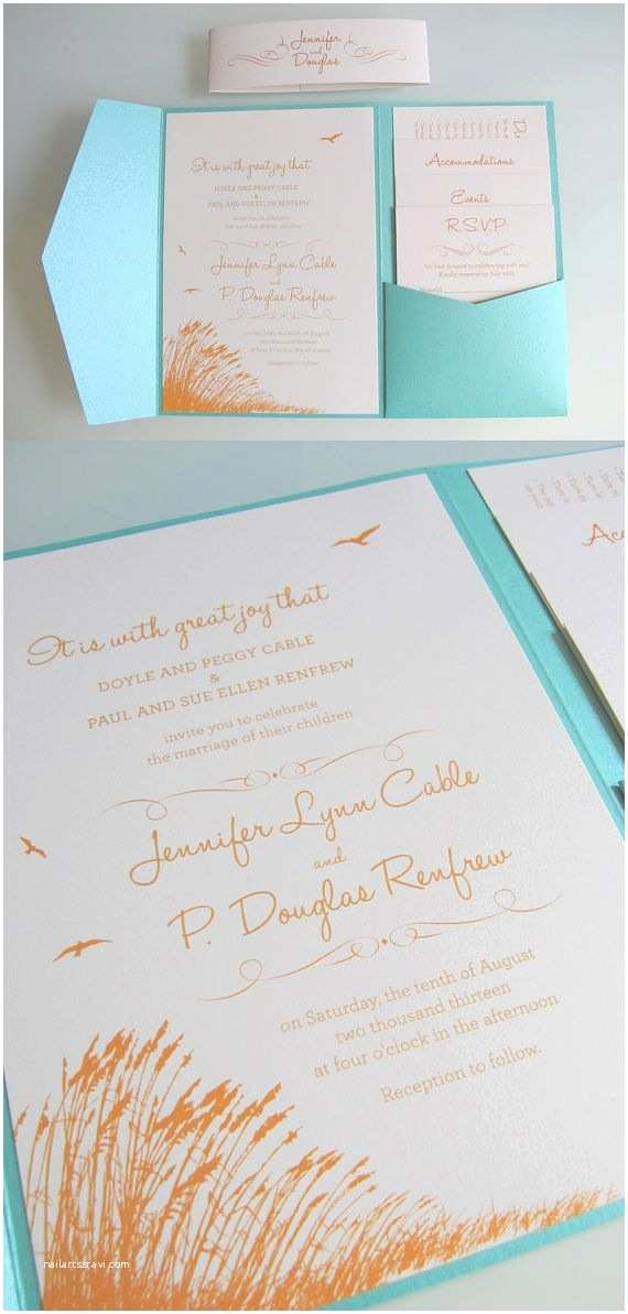 Pocket Style Wedding Invitations Beach theme Custom Designed Wedding Invitation Pocket Fold