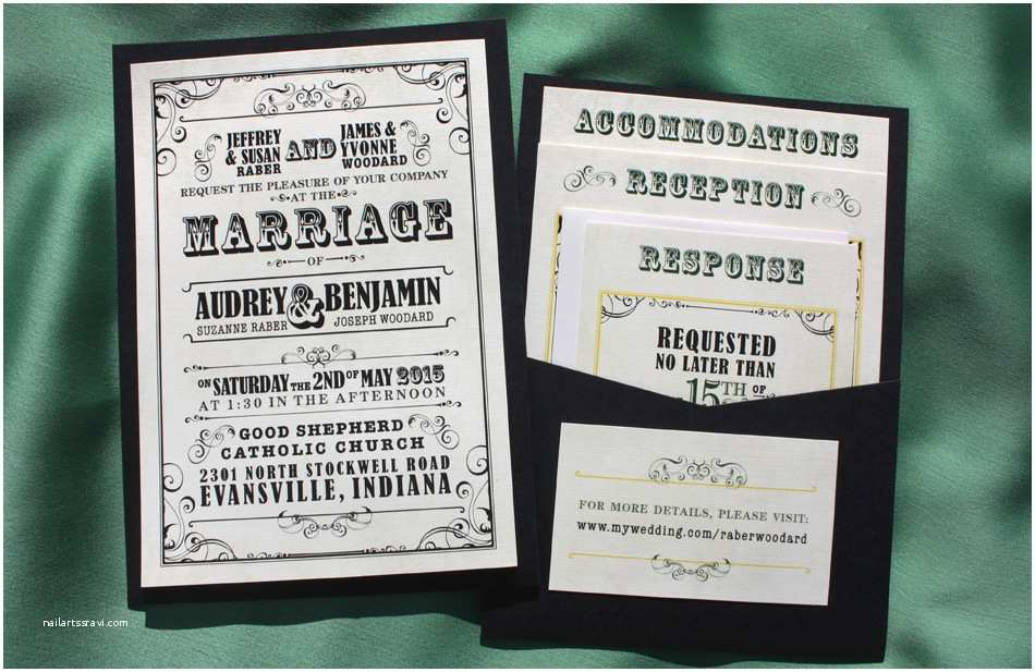 Pocket Style Wedding Invitations Black Yellow & Green Vintage Poster Style Clutch Pocket