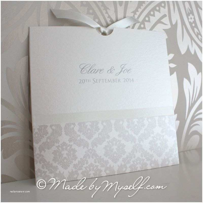 Pocket Style Wedding Invitations Damask Pocket Style Wedding Invitation