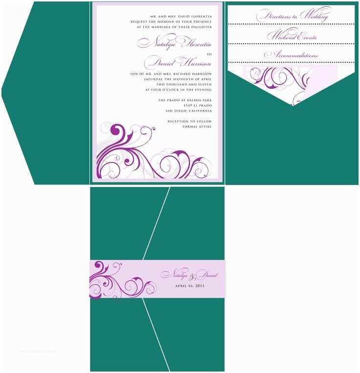 Pocket Style Wedding Invitations Emerald Green Purple Wedding