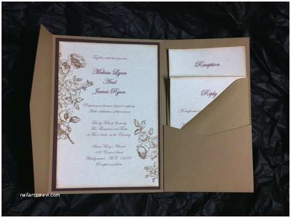 Pocket Style Wedding Invitations Items Similar to Vintage Style Wedding Pocket Fold