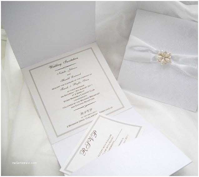Pocket Style Wedding Invitations Lace and Pearl Pocket Style Wedding Invitation From