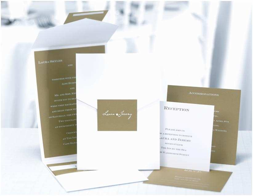 Pocket Style Wedding Invitations Olive Green and White Custom Pocket Style Wedding