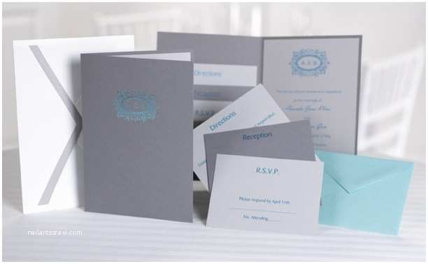 Pocket Style Wedding Invitations Pewter Grey Turquoise and White Custom Pocket Wedding