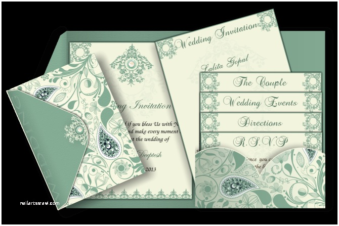 Pocket Style Wedding Invitations Pocket Fold Card with Paisley In Olive Green