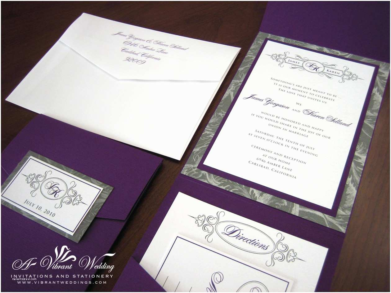 Pocket Style Wedding Invitations Purple and Silver Wedding Invitation – Pocket Fold Style