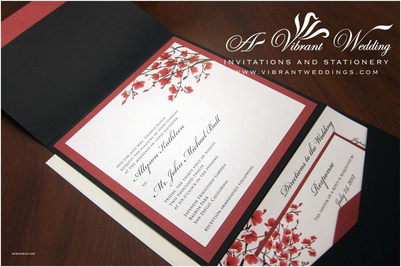 Pocketfold Wedding Invitations Red Wedding Invitation – A Vibrant Wedding