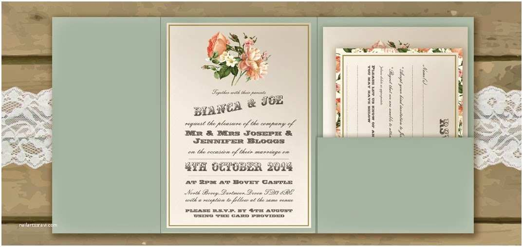 Pocketfold Wedding Invitations Sage Wedding Invitations