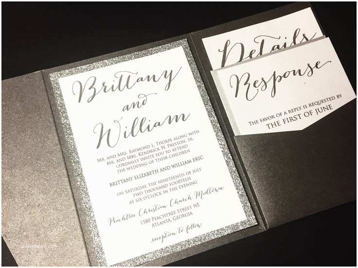 Pocketfold Wedding Invitations Silver Glitter Wedding Invitation Pocketfold Wedding
