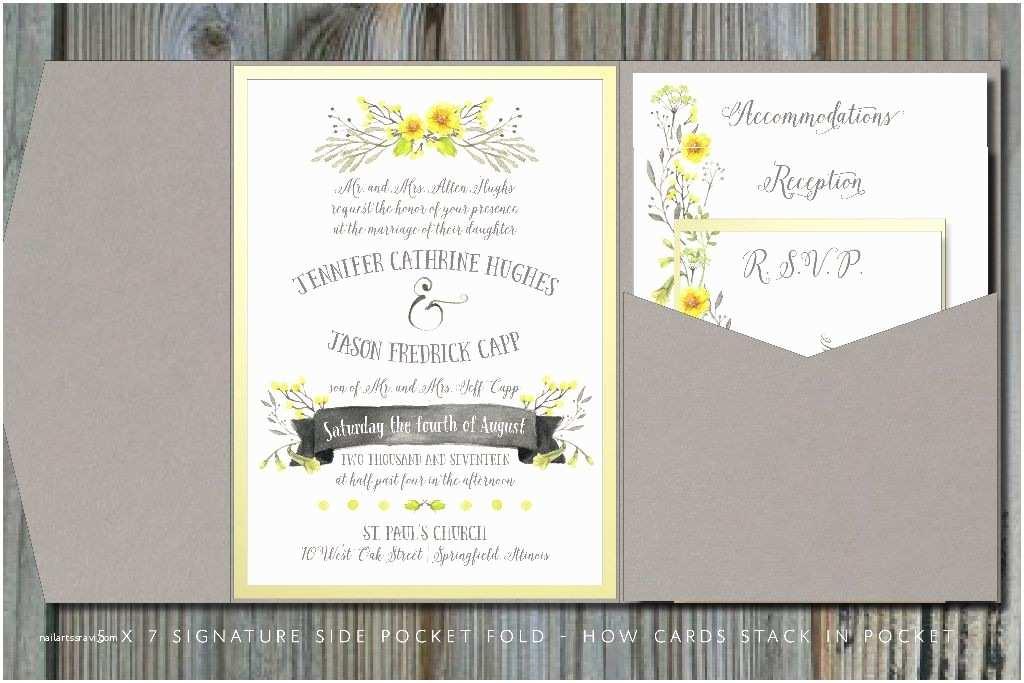 Pocketfold Wedding Invitations Summery Yellow & Gray Pocket Fold Wedding Invitation
