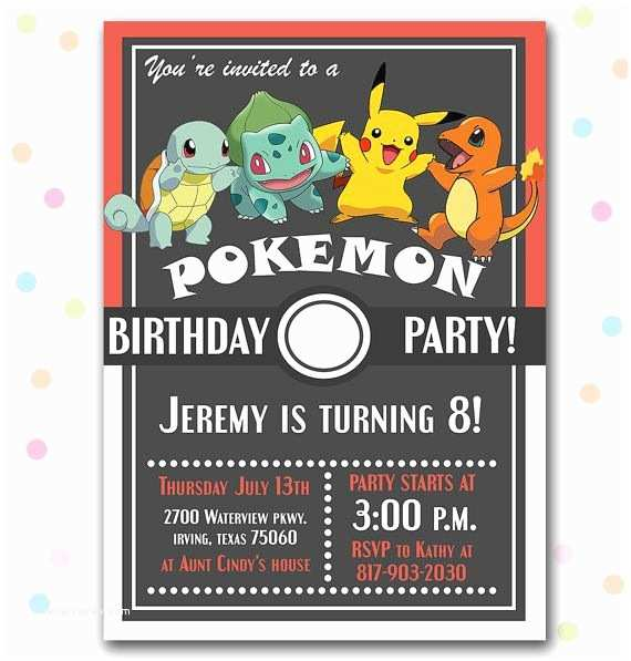 Pokemon Birthday Invitations Diy Pokemon Birthday Party Invitation Pickachu Charmander