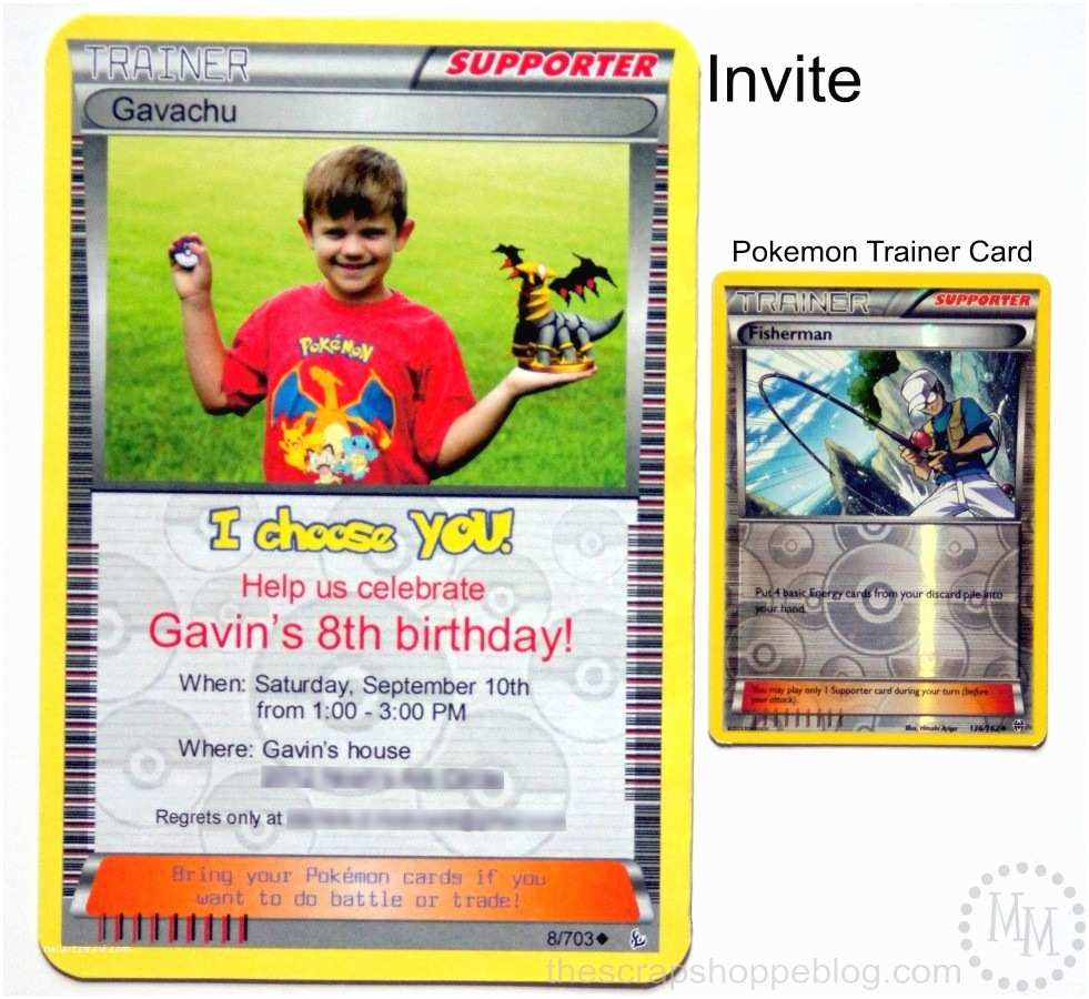 Pokemon Birthday Invitations Pokémon Card Birthday Invitation the Scrap Shoppe