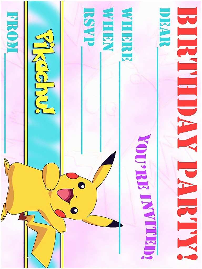 Pokemon Birthday Invitations Pokemon Coloring Pages