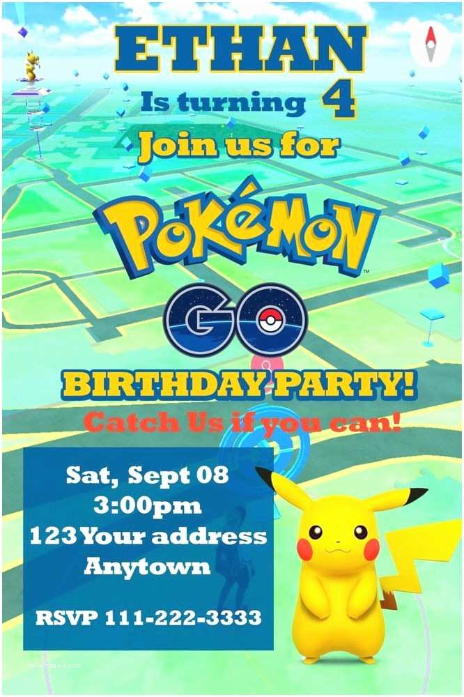 Pokemon Birthday Invitations Pokemon Go Pikachu Birthday Party Invitations Personalized