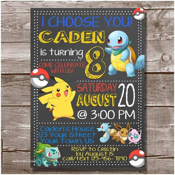 Pokemon Birthday Invitations Pokemon Invitation Pokemon Go Birthday by Yourinvitationcorner