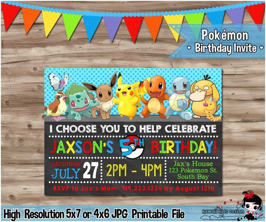 Pokemon Birthday Invitations Pokémon Invitation Pokemon Invitation Pokémon Invite Pokemon