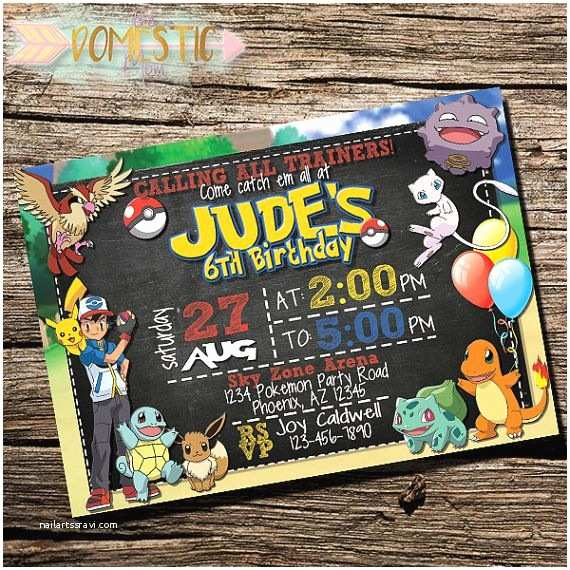 Pokemon Birthday Invitations Pokemon Invitation Pokemon Invite