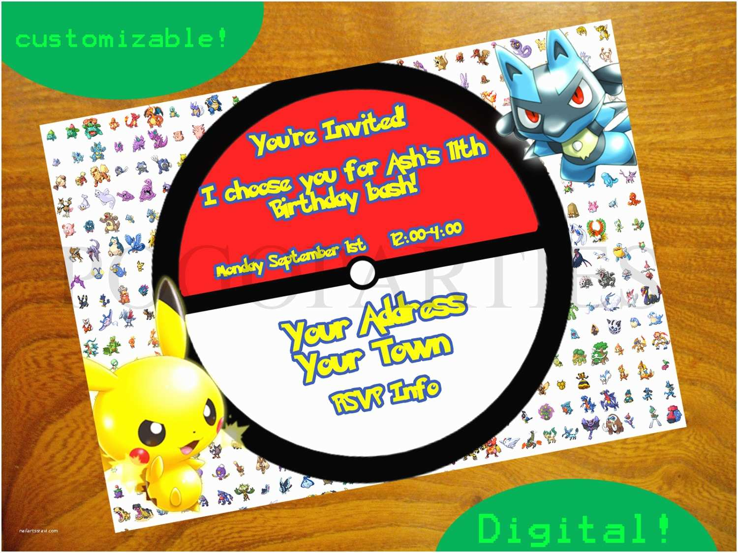 Pokemon Birthday Invitations Pokemon Party Invitations – Gangcraft