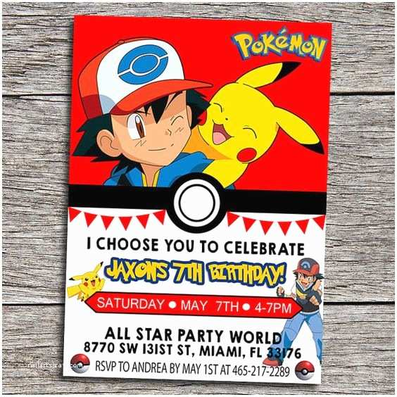Pokemon Birthday Invitations Pokemon Party Invitations Ideas Party Xyz