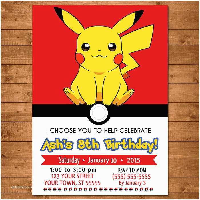 Pokemon Birthday Invitations Pokemon Pikachu Invitation Pokemon Pikachu Invite Pokemon