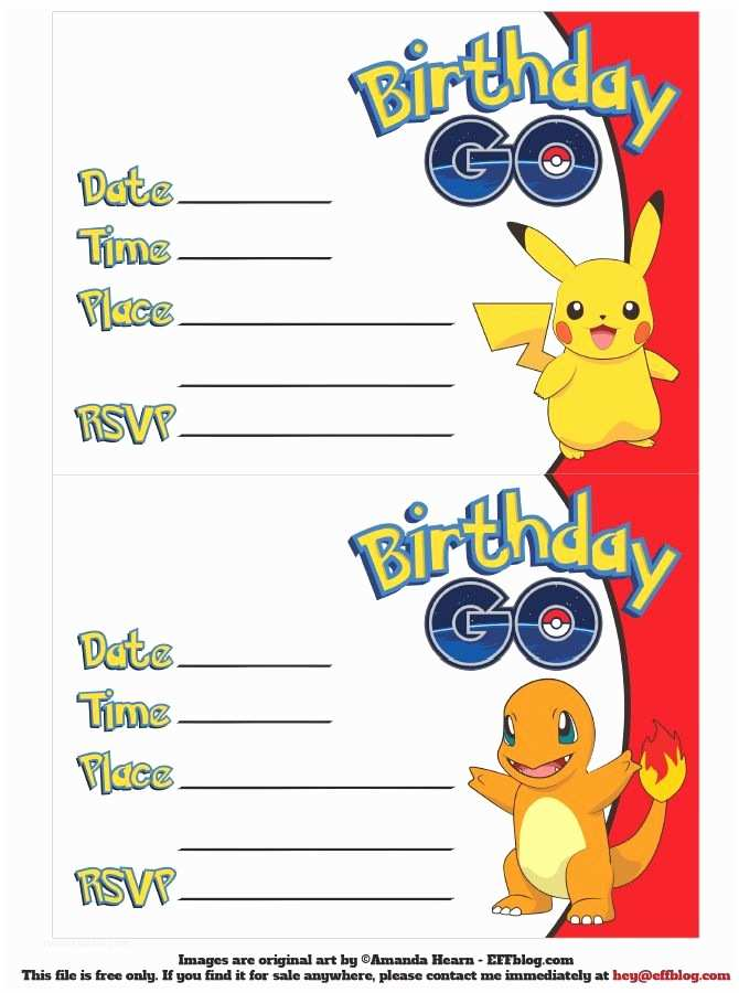 Pokemon Birthday Party Invitations Go Free