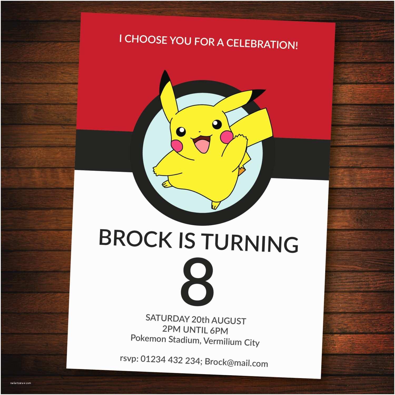 Pokemon Birthday Party Invitations Personalised Pokemon Invite Self Editable Pdf 5 X 7 Inch