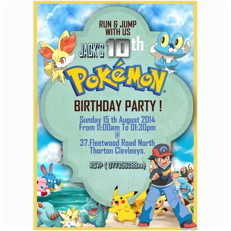 Pokemon Birthday Party Invitations Personalize Pokemon Party Invitations Thank You Cards