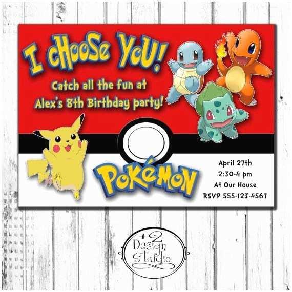 Pokemon Birthday Party Invitations Pokemon Birthday Invitations Personalized