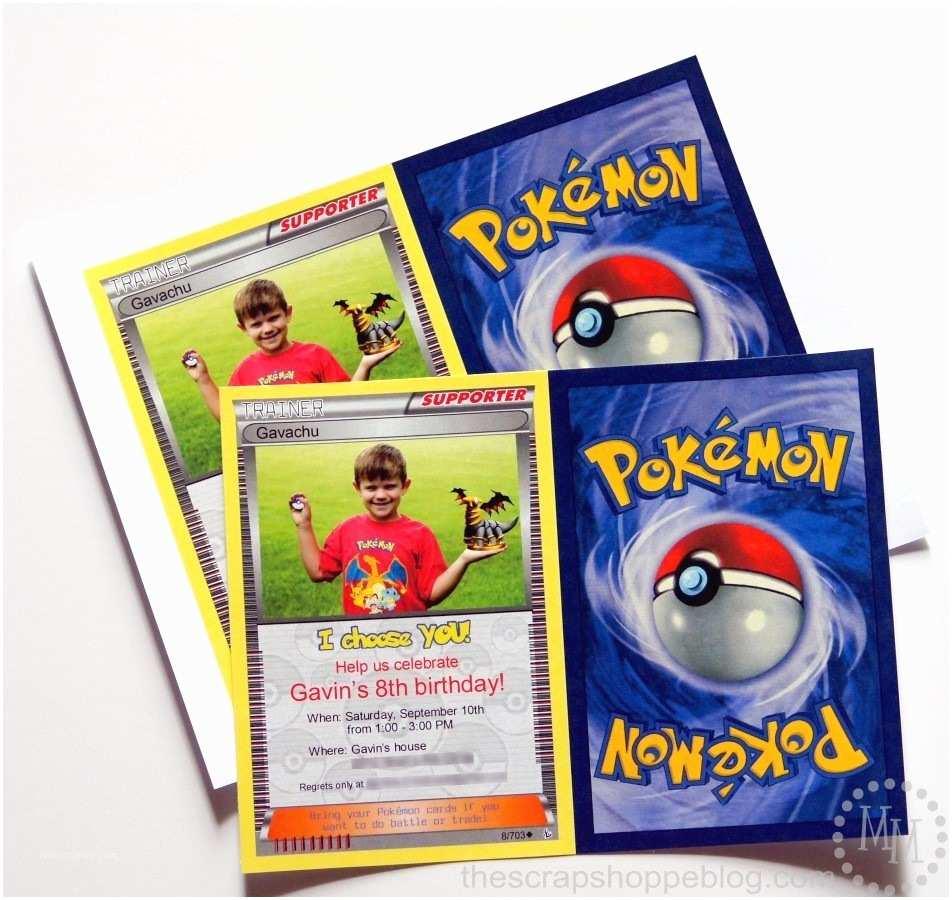 Pokemon Birthday Party Invitations Pokémon Card Birthday Invitation the Scrap Shoppe