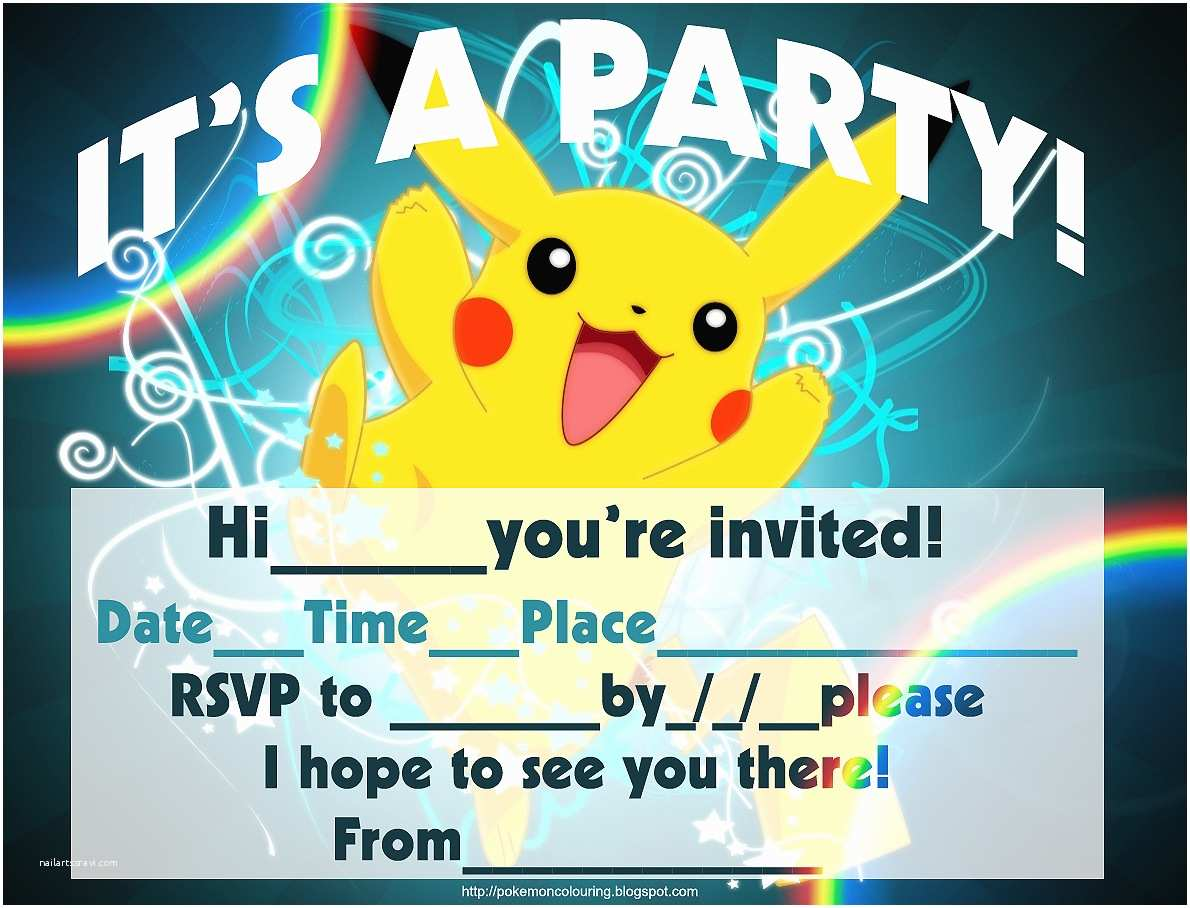 Pokemon Birthday Party Invitations Pokemon Coloring Pages