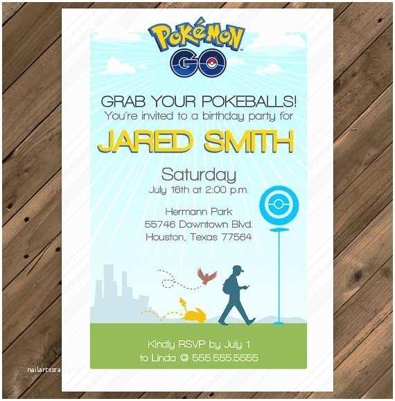 Pokemon Birthday Party Invitations Pokemon Go Birthday Party Invitation Printable by