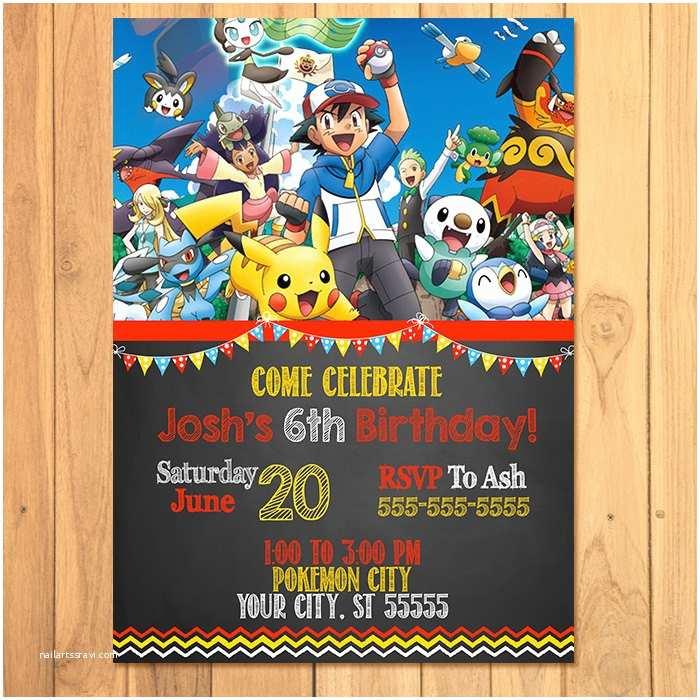 Pokemon Birthday Party Invitations Pokemon Invitation Chalkboard Pokemon Birthday Pokemon