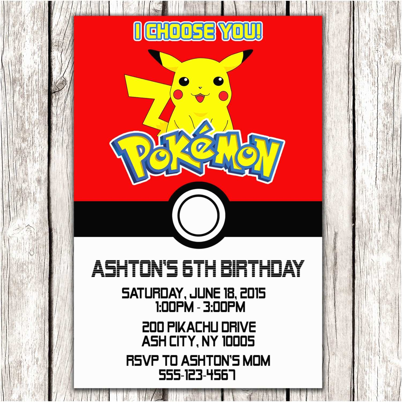 Pokemon Birthday Party Invitations Pokemon Invitation Pokemon Birthday Party Diy Printable