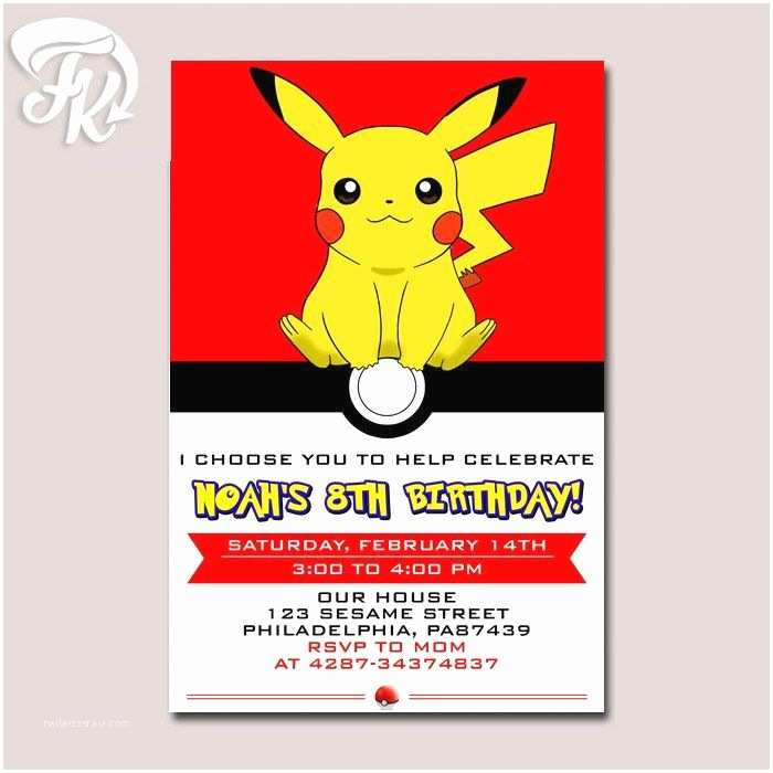 Pokemon Party Invitations Ball Pikachu Anime Birthday Card Digital