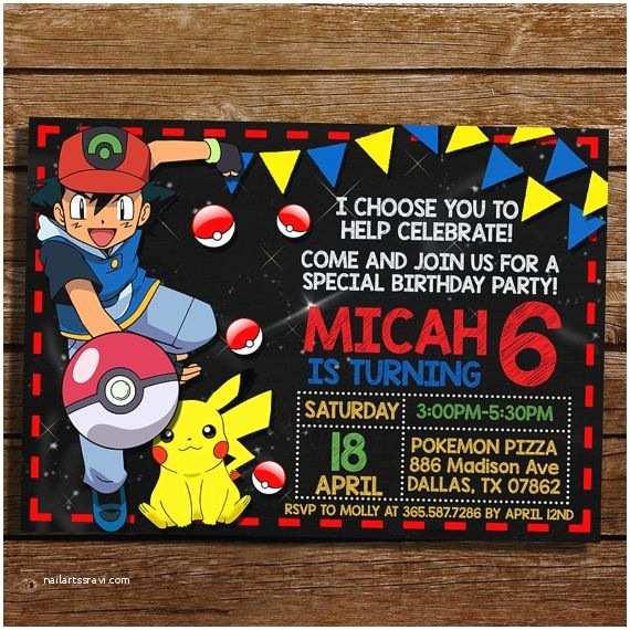 Pokemon Party Invitations Pokemon Birthday Invitation Pokemon Birthday Party