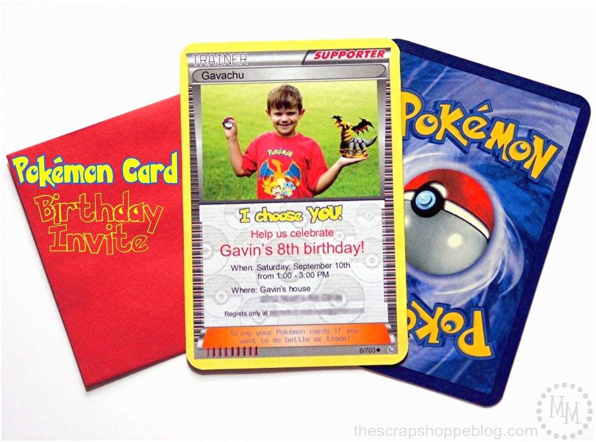 Pokemon Party Invitations Pokémon Card Birthday Invitation the Scrap Shoppe