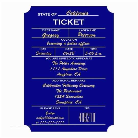 Police Wedding Invitations Navy Blue Ticket Police Graduation Invitations