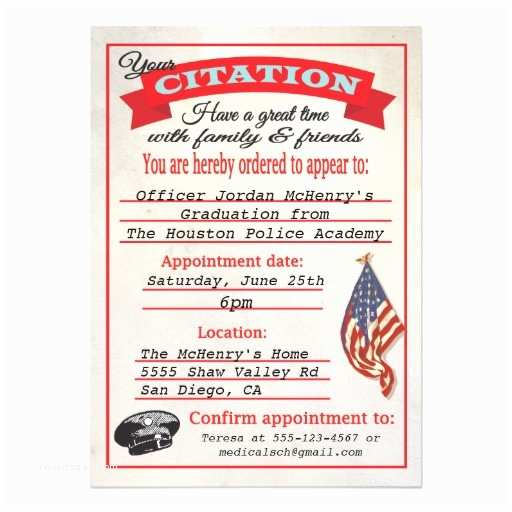 police academy graduation invitations template