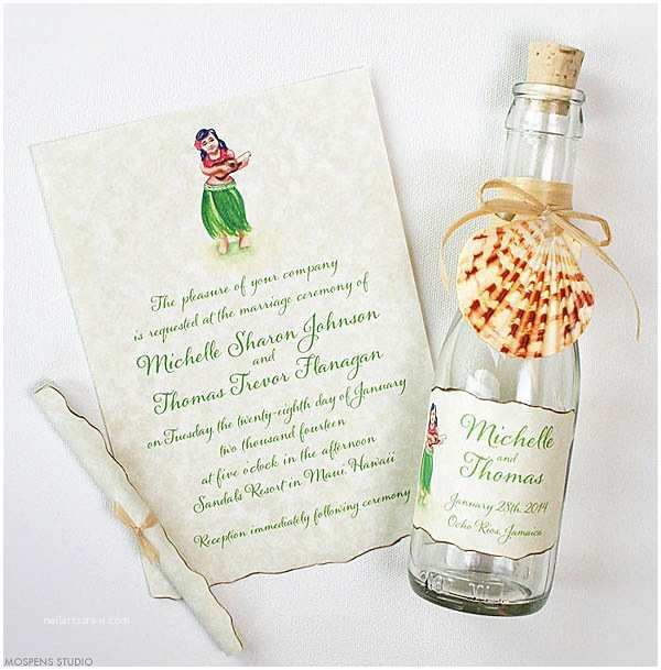 Polynesian Wedding Invitations 21 Bottle Beach Wedding Invitation Ideas