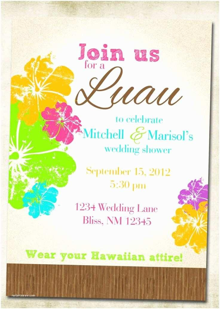 Polynesian Wedding Invitations Bridal Shower Invitations Free Hawaiian themed Bridal